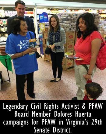 Image - Legendary Civil Rights Activist & PFAW Board Member Dolores Huerta campaigns for PFAW in Virginia's 29th Senate District