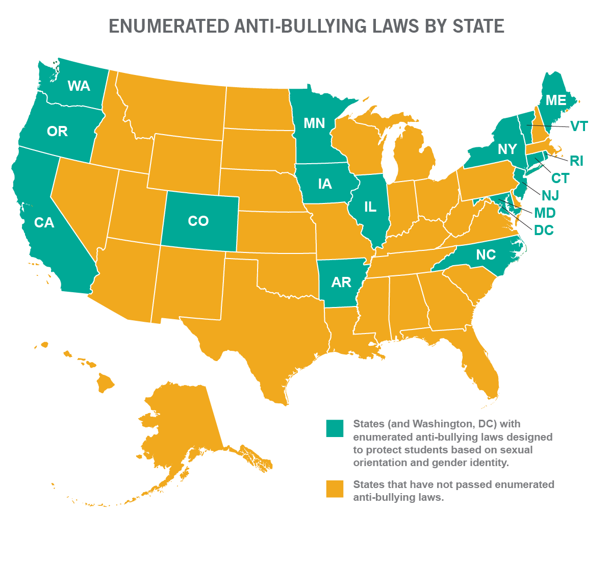 GLSEN: Enumerated anti-bullying laws by state